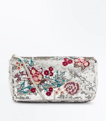 Gold Floral Embroidered Sequin Chain Shoulder Bag