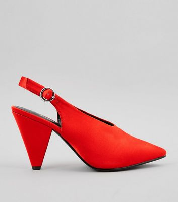 Wide Fit Red Satin Pointed Cone Heels