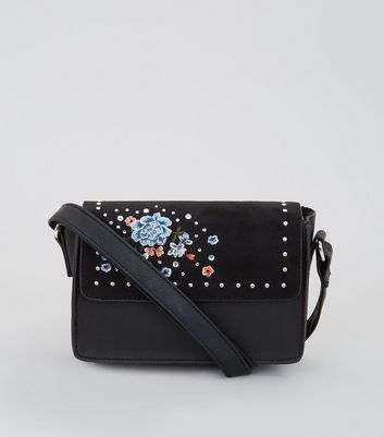 Black Floral Embroidered Stud Cross Body Bag