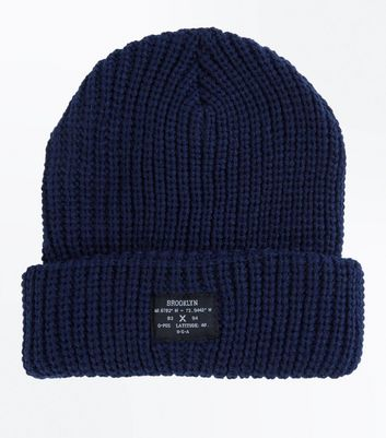 Navy Ribbed Knit Beanie