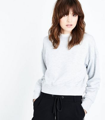 Grey Marl Cropped Sweatshirt