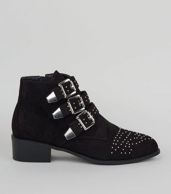 Wide Fit Black Suedette Stud Buckle Ankle Boots