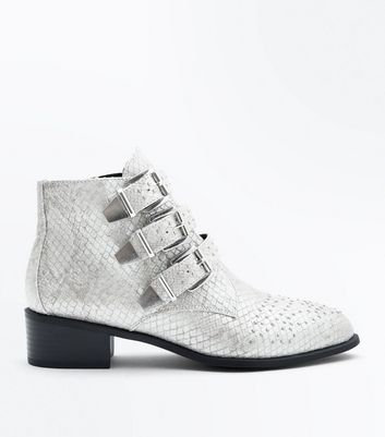 Wide Fit Grey Snake Texture Stud Buckle Ankle Boots