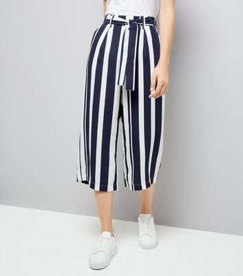 Blue Stripe Tie Waist Cropped Trousers