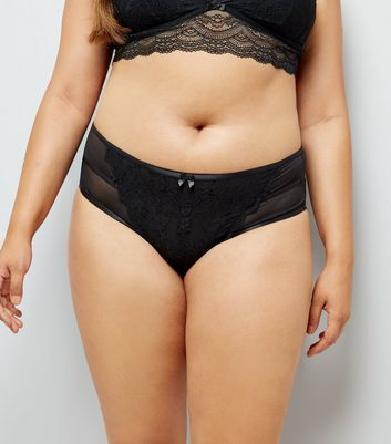 Curves Black Lace Trim Brazilian Briefs