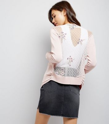 Shell Pink Floral Embroidered Mesh Back Cardigan