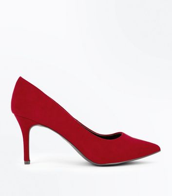 Red Suedette Pointed Court Shoes