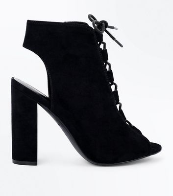 Black Suedette Lace Up Peep Toe Heels