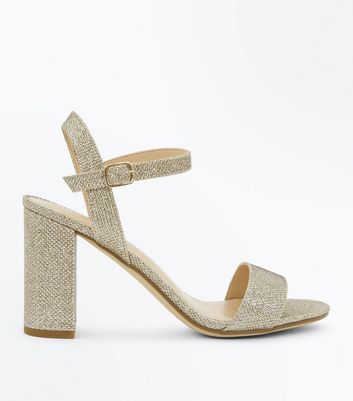 Gold Glitter Block Heel Sandals