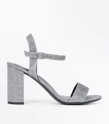 Pewter Glitter Block Heel Sandals