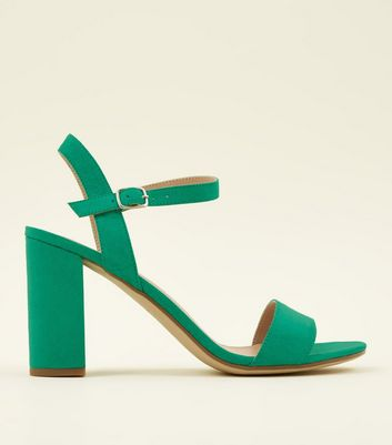 Green Suedette Block Heel Sandals