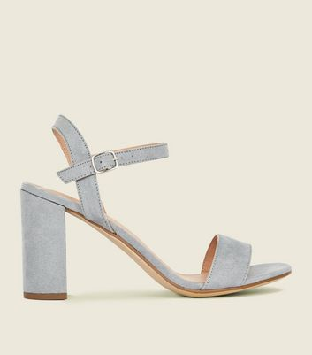 Blue Suedette Block Heel Sandals