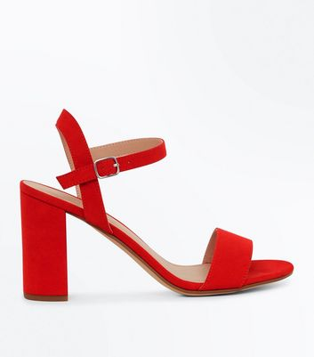 Red Suedette Block Heel Sandals