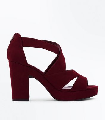 Dark Red Suedette Strappy Block Heels