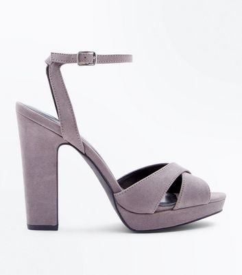 Grey Suedette Cross Strap Platform Block Heels