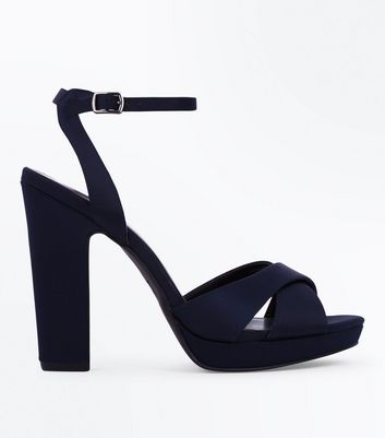 Navy Satin Cross Strap Block Heels