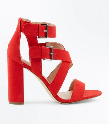 Red Suedette Strappy Double Buckle Block Heels
