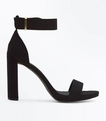 Black Suedette Metal Trim Block Heel Sandals