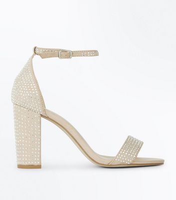 Cream Suedette Embellished Block Heel Sandals