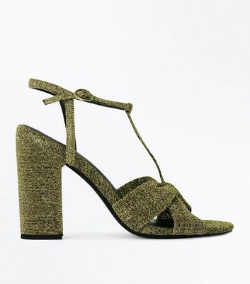 Gold Glitter T Bar Block Heel Sandals