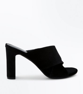 Black Velvet Cross Strap Heeled Mules