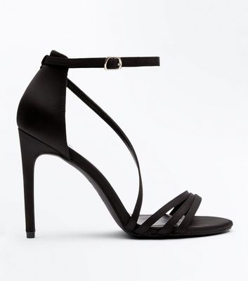 Wide Fit Black Satin Strappy Sandals