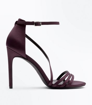 Wide Fit Dark Purple Satin Strappy Sandals