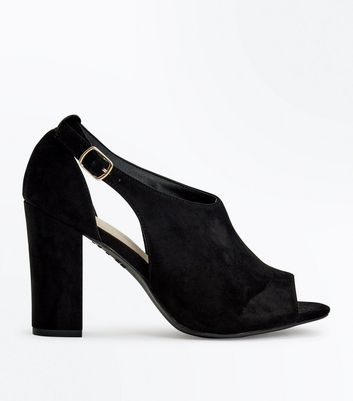 Girls Black Suede Pumps With Gold Bar UK 2 New Look