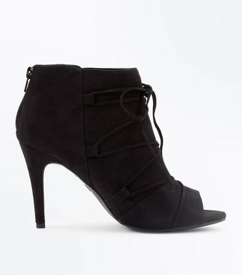 Black Comfort Flex Suedette Lace Up Peep Toes