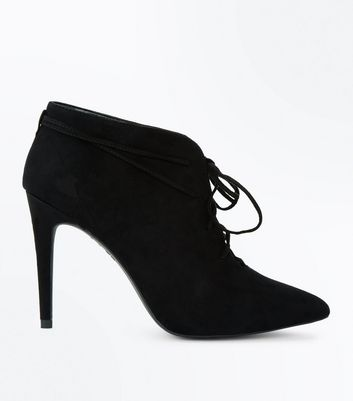 Black Suedette Lace Up Pointed Shoe Boots