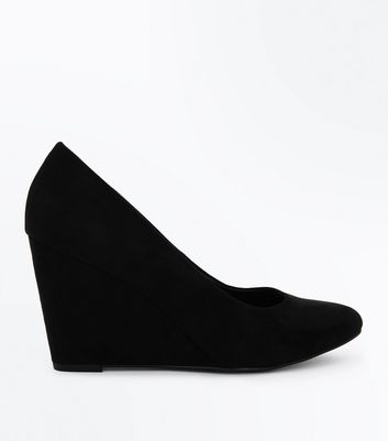 Black Suedette Round Toe Wedges | New Look