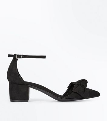 Black Suedette Bow Top Pointed Block Heels