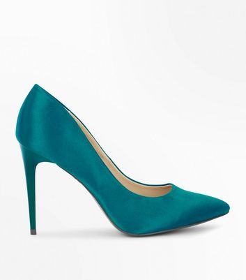 Green Satin Pointed Court Shoes