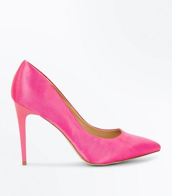 Pink Satin Pointed Court Shoes