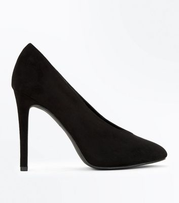Black Suedette V Front Court Shoes