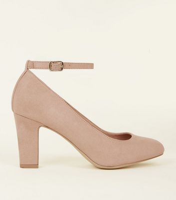 Nude Suedette Ankle Strap Court Shoes