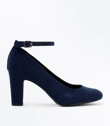 Navy Suedette Ankle Strap Court Shoes