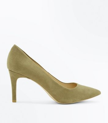 Khaki Suedette Mid Heel Pointed Court Shoes