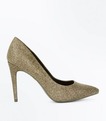 Gold Glitter Pointed Court Shoes