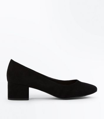 Black Suedette Low Heel Court Shoes
