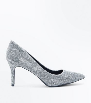 Grey Glitter Pointed Court Shoes