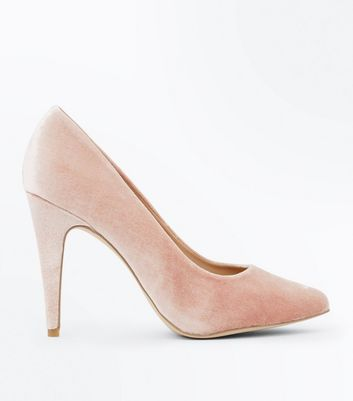 Nude Velvet Cone Heel Court Shoes