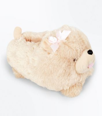 Light Brown Fluffy Dog Slippers