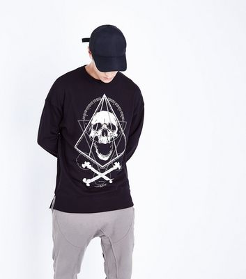Black Skull Print Sweater
