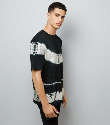 Black Monochrome Tie Dye Stripe T-Shirt
