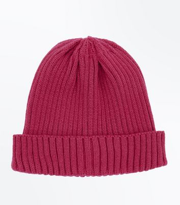 Bright Pink Ribbed Beanie