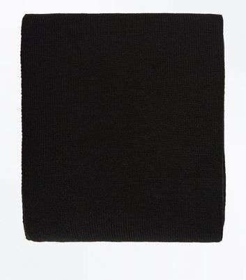 Black Jersey Knit Scarf