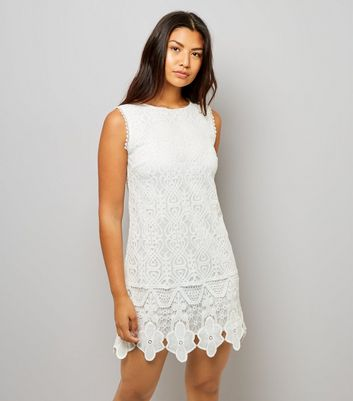 Mela White Lace Shift Dress