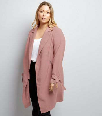 Curves Pink Tie Sleeve Duster Jacket