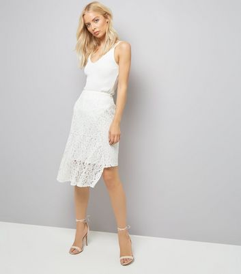 Cream Lace Asymmetric Hem Midi Skirt
